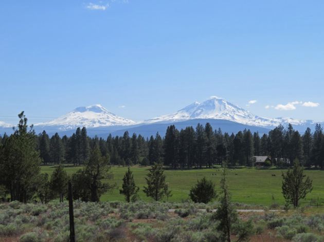 View of the Three Sisters mountains near Calliope Crossing.